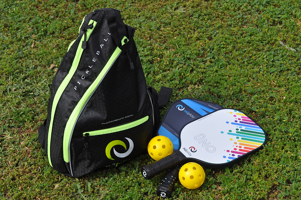 nüplay equipment assortment - sling bag, paddles, balls